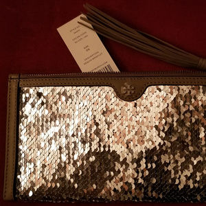 Tory Burch Sequined Taupe Leather Trim Clutch